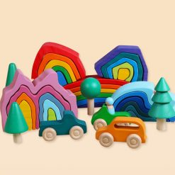 Wooden Rainbow Blocks Stacking Toy