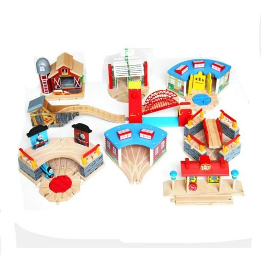 wooden train tracks shed